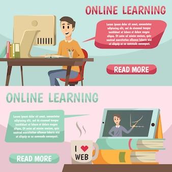 Banners ortogonais de educação on-line