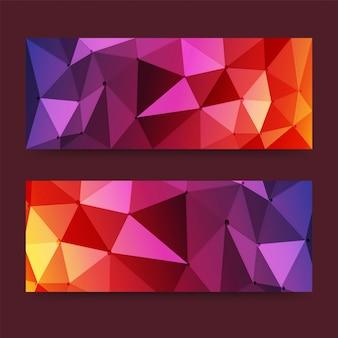 Banners ou cabeçalhos de pixel modernos coloridos com triângulos, conceito de baixo teor de poliéster. banners vetoriais prontos para o seu texto ou design.