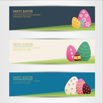 Banners ovos da páscoa coloridos