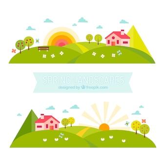 Banners paisagens primavera em design plano