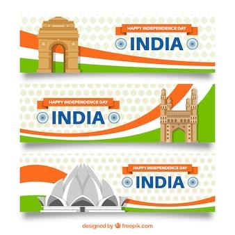 Banners para celebrar o dia da independência da índia em todo o mundo