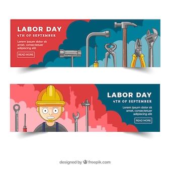 Banners para dia do trabalho com ferramentas e trabalhador