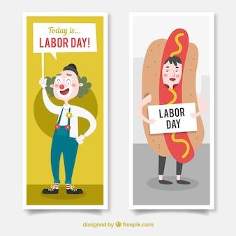 Banners para o dia do trabalho com cachorro-quente e palhaço