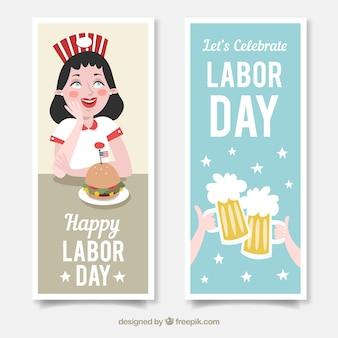 Banners para o dia do trabalho com hambúrguer e cervejas
