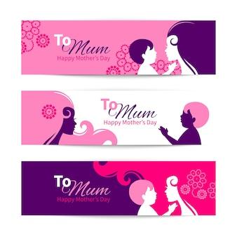 Banners para o feliz dia das mães. linda mãe com silhuetas de bebê