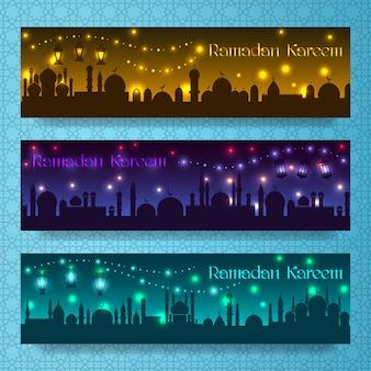 Banners para ramadan kareem e eid com feriado noturno na cidade árabe