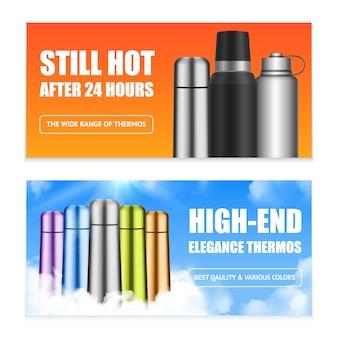 Banners para recipientes de bebidas em aço inoxidável