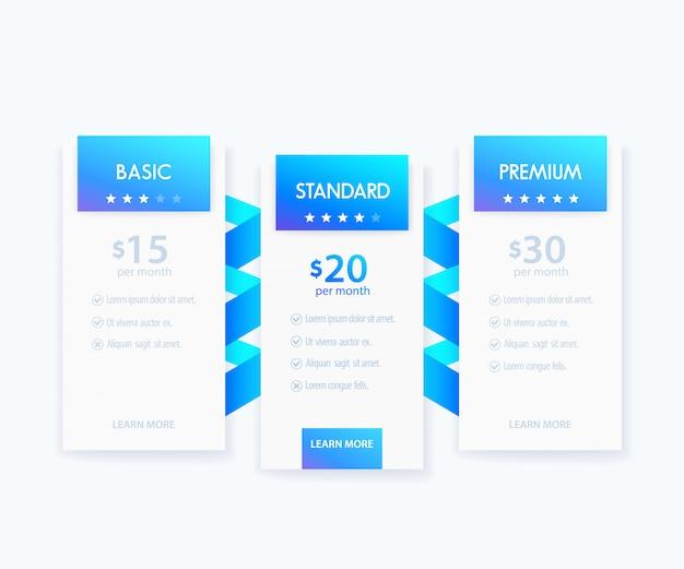 Banners para tarifa, tabela de preços e planos, modelo