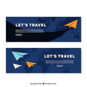 Banners plana com aviões de papel