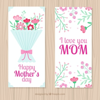 Banners plana com flores bonitas para o dia da mãe