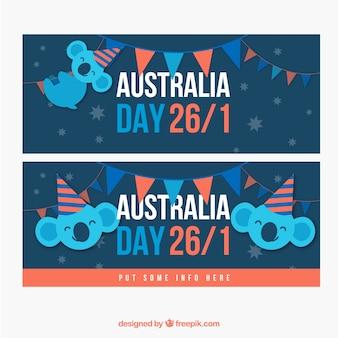 Banners plana com sorriso koalas para o dia austrália