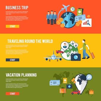 Banners plana de conceito de viagens