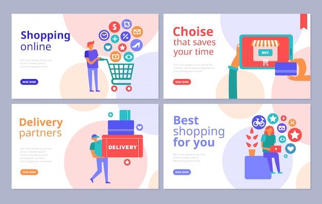 Banners planas de conceito de compras online definidas com navegação na internet parceiros de entrega de pagamento com cartão de crédito