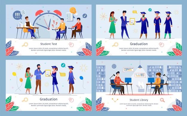 Banners planas de educação bem sucedida de faculdade