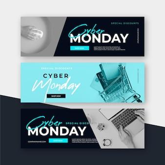 Banners planas de segunda-feira virtual