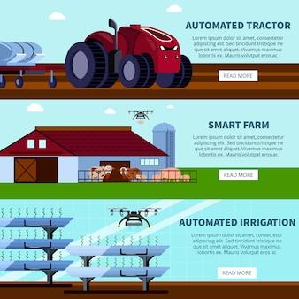 Banners planas ortogonais de agricultura inteligente