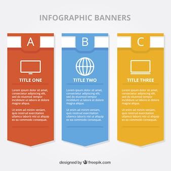 Banners planas para infográficos com ícones minimalistas