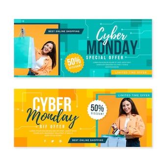 Banners planos cibernéticos de segunda-feira