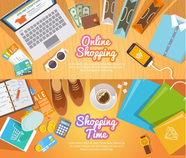 Banners planos coloridos de compras para sua empresa