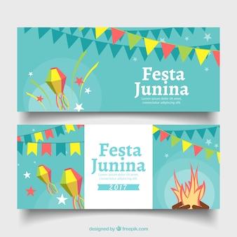 Banners planos com elementos de festa para festa junina