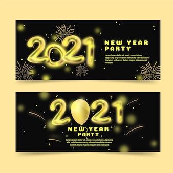 Banners planos de festa de ano novo de 2021