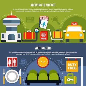 Banners planos de informações sobre serviços de aeroporto