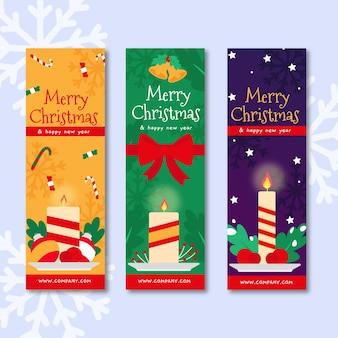 Banners planos de natal com velas