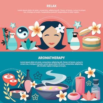 Banners planos de relaxamento de aromaterapia de spa