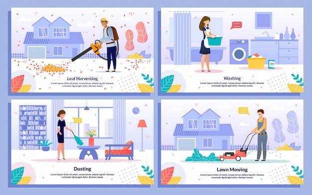 Banners planos de serviços comerciais domésticos