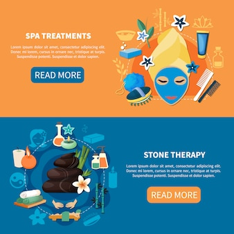 Banners planos de tratamentos de spa