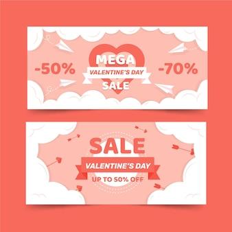 Banners planos de venda do dia dos namorados com oferta