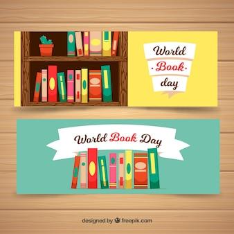 Banners planos dia do livro mundial feliz