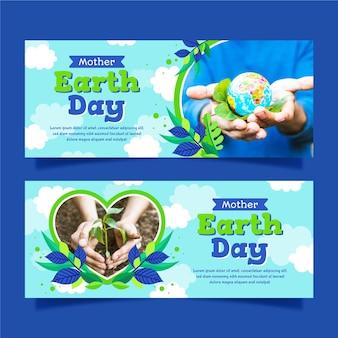 Banners planos do dia da mãe terra com foto