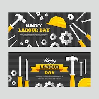 Banners planos do dia do trabalho