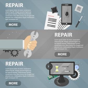 Banners planos horizontais de reparo para sites. conceito de negócio de serviço de suporte informático e mercado eletrônico.