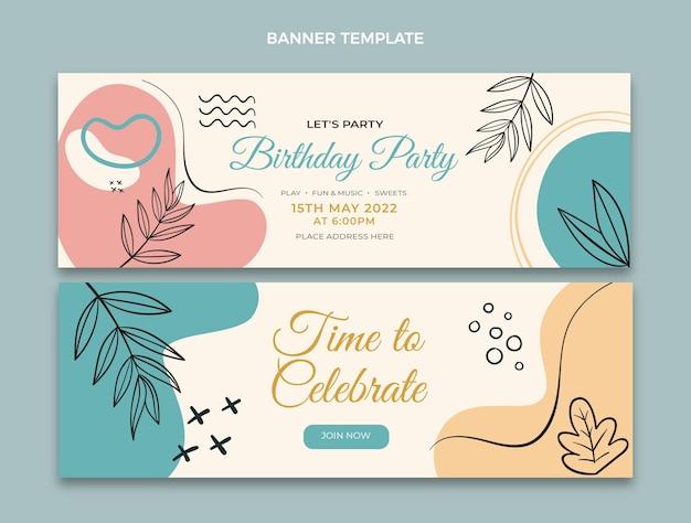 Banners planos mínimos de aniversário horizontais
