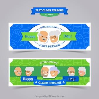 Banners planos para o dia as pessoas mais velhas