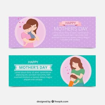Banners pontilhadas de mulher com seu filho no dia das mães