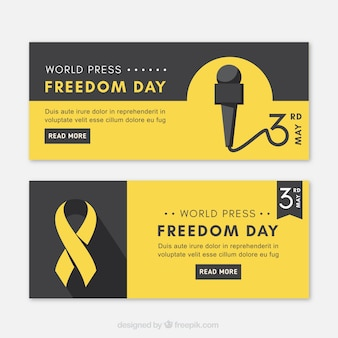 Banners pretos e amarelos para o dia da liberdade de imprensa mundial