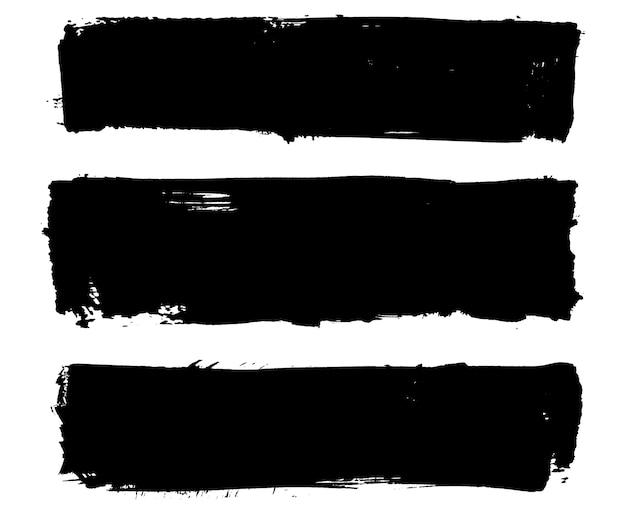 Banners pretos estragados Vetor Premium