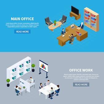 Banners principais de gestão e trabalho de escritório