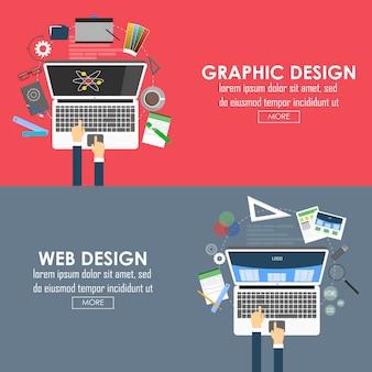 Banners projetados planos para design gráfico e web design. vetor