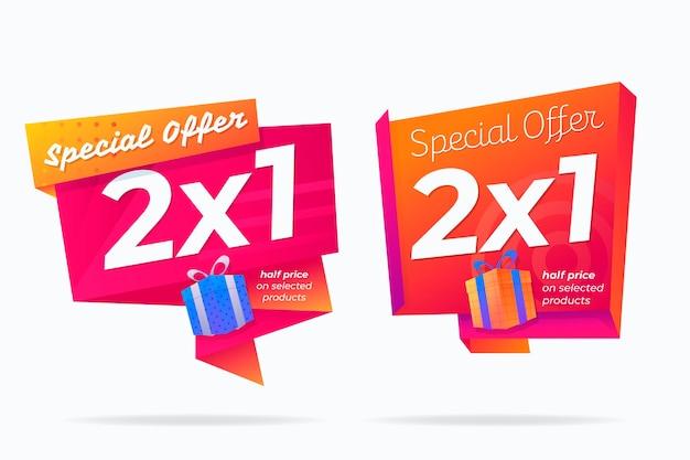 Banners promocionais com pacote de forma abstrata