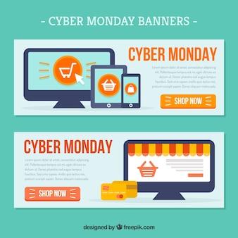 Banners promocionais de cyber-monday