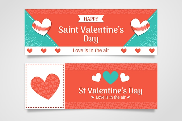 Banners promocionais de design plano dia dos namorados