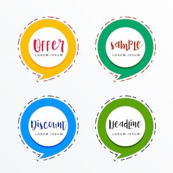 Banners promocionais no estilo de bolha de bate-papo para venda e ofertas