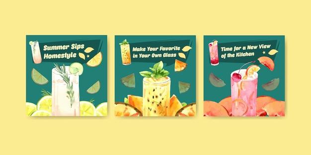 Banners quadrados de bebida de verão