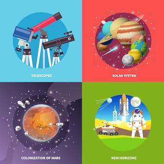 Banners quadrados de vetor de espaço.