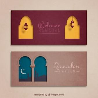 Banners ramadan bonitos com janelas arábica