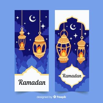Banners ramadan desenhada de mão